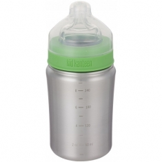 Dětská nerezová lahev Klean Kanteen Baby Bottle w/Medium Flow Nipple - brushed stainless 266 ml