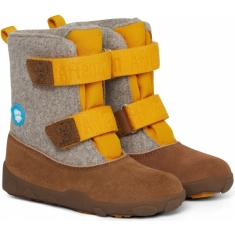 Dětské barefoot boty Affenzahn Minimal Highboot Leather tiger - Yellow/brown